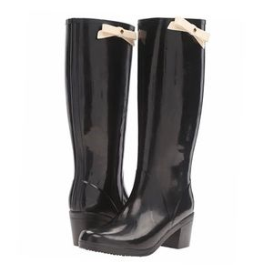 Kate Spade Raylan Bow Heeled Black Rainboots 7